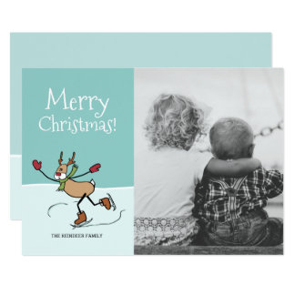 Cute Dancing Reindeer - Christmas 13 Cm X 18 Cm Invitation Card