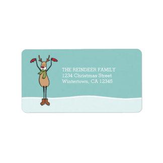 Cute Dancing Reindeer - Christmas Address Label