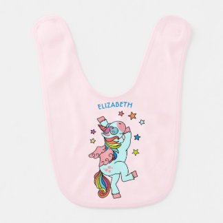 Cute Dancing Unicorn With Wings And Stars Bib