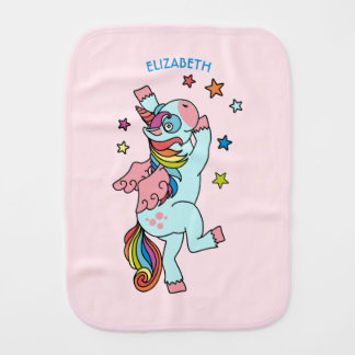 Cute Dancing Unicorn With Wings And Stars Burp Cloths