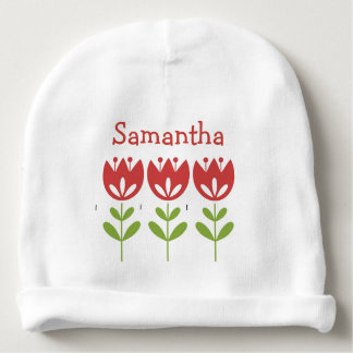 Cute Danish Stencil Red Tulips Girly White or Pink Baby Beanie