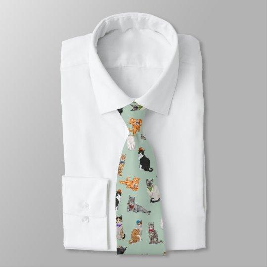 Cute Dapper Kitties Cat Pattern Tie