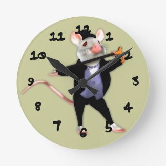 Cute Dapper Mouse, the Dancing Cartoon Mouse Round Clock