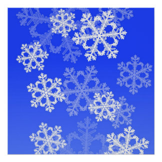 Cute dark blue and white Christmas snowflakes Print