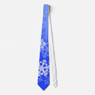 Cute dark blue and white Christmas snowflakes Tie