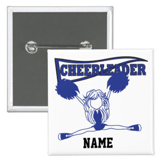 Cute Dark Blue Cheerleader Girl   DIY Name 15 Cm Square Badge