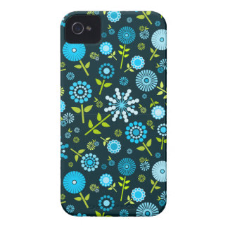 Cute dark blue spring flowers iPhone 4 covers