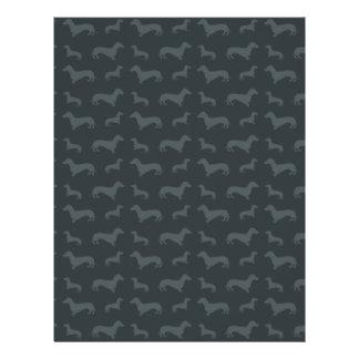 Cute dark gray dachshund pattern 21.5 cm x 28 cm flyer