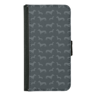 Cute dark gray dachshund pattern samsung galaxy s5 wallet case