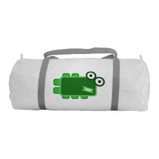 Cute Dark Green Cartoon Monster Gym Duffel Bag