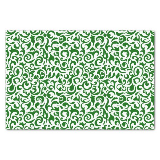 Cute Dark Green White Damask Floral Pattern Tissue