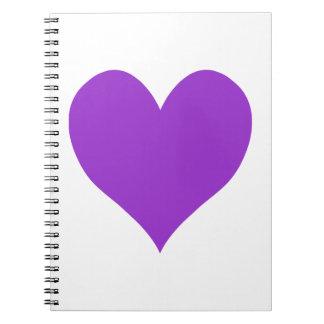 Cute Dark Orchid Heart Spiral Note Book