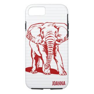 Cute Dark Red Elephant Line Drawing iPhone 8/7 Case