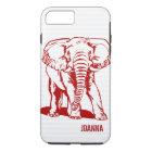 Cute Dark Red Elephant Line Drawing iPhone 8 Plus/7 Plus Case