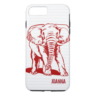 Cute Dark Red Elephant Line Drawing iPhone 8 Plus/7 Plus Case
