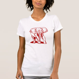 Cute Dark Red Elephant Line Drawing Tshirts