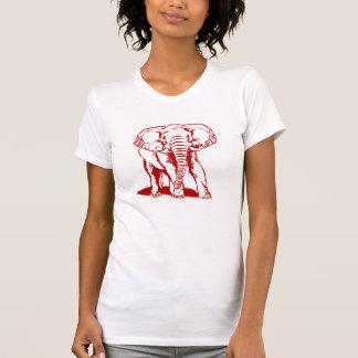 Cute Dark Red Elephant Line Drawing Tshirt