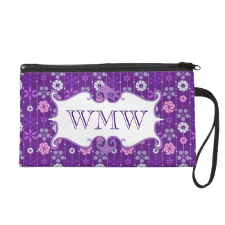 Cute dark retro geometric floral pattern monogram wristlet purses