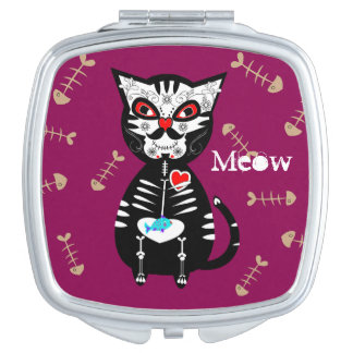 Cute Day of The Dead Sugar Skull Cat Meow Vanity Mirror