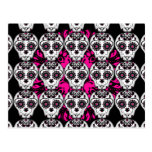 Cute day of the dead sugar skull pattern post cards