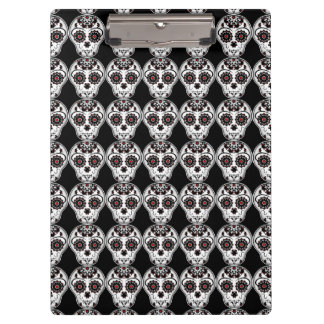 Cute Day of the Dead sugar skull print on black Clipboards