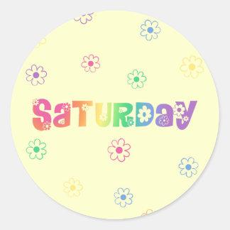 Cute Day Of The Week Saturday Round Sticker