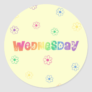 Cute Day Of The Week Wednesday Round Sticker