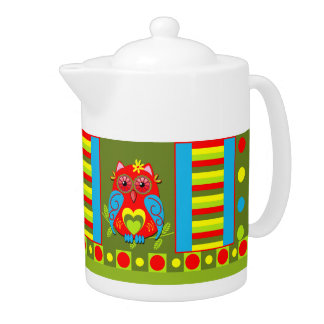Cute decorative Teapot with Owl and Patterns