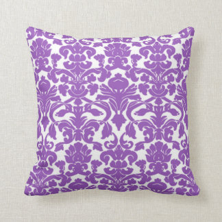 Cute Deep Lilac Damask Pattern Cushion