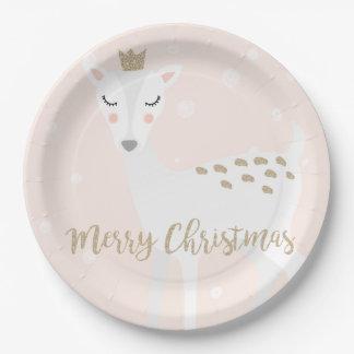 Cute Deer | Blush Pink | Christmas Paper Plate