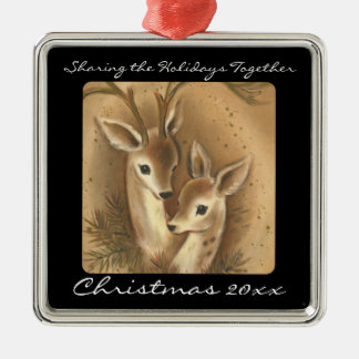 Cute Deer Couple Personalized Ornaments