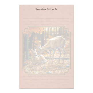 Cute Deer Doe & Fawn Autumn Red Stationery