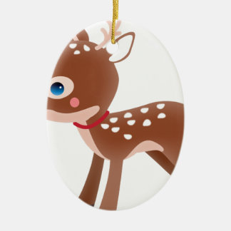 Cute Deer Graphic Ceramic Oval Decoration