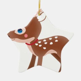 Cute Deer Graphic Ceramic Star Decoration