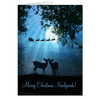 Cute Deer in the Moonlight Newlywed Xmas Card