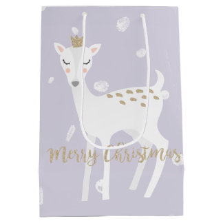 Cute Deer | Lilac | Christmas Gift Bag