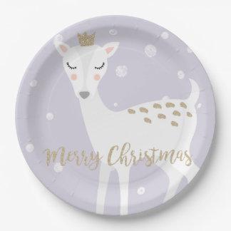 Cute Deer | Lilac | Christmas Paper Plate