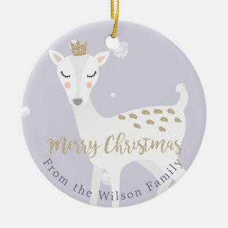 Cute Deer | Lilac | Personalized Christmas Christmas Ornament