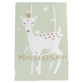 Cute Deer | Sage Green | Christmas Gift Bag