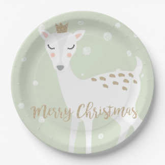 Cute Deer | Sage Green | Christmas Paper Plate