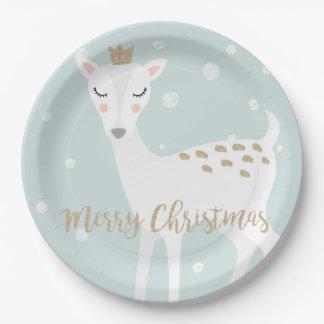 Cute Deer | Soft Blue | Christmas Paper Plate