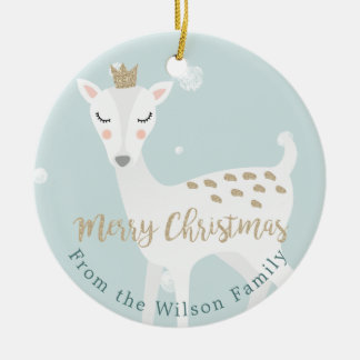 Cute Deer   Soft Blue   Personalized Christmas Christmas Ornament