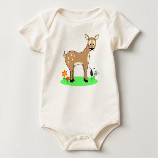 Cute Deer Stopping In A Flowerbed Bodysuit