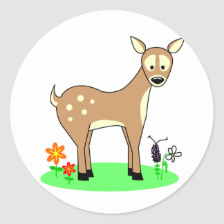 Cute Deer Stopping In A Flowerbed Stickers