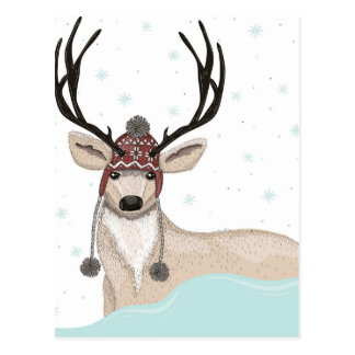 Cute Deer With Hat Winter Background Post Cards