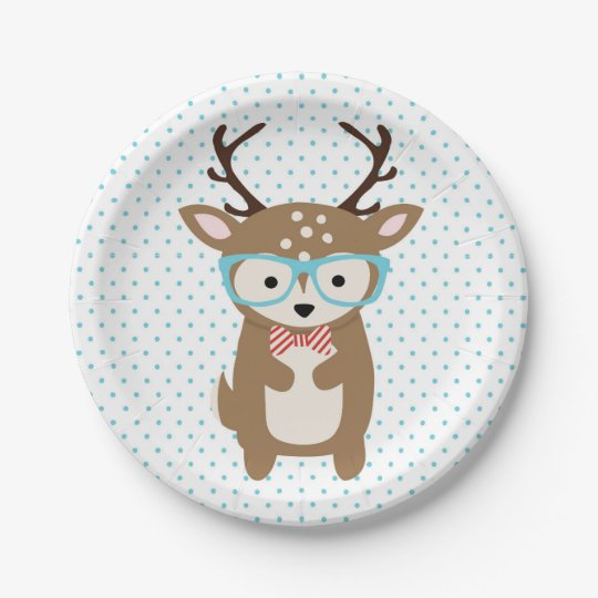 Cute Deer woodland animals party plate