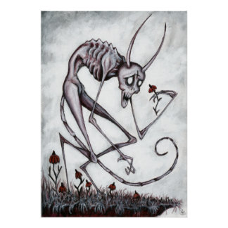 Cute demon with flower acrylic painting poster