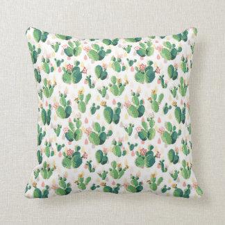 Cute Desert Flowering Cactus Throw Pillow