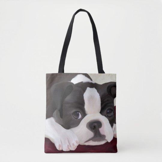 Cute design Boston terrier tote bags