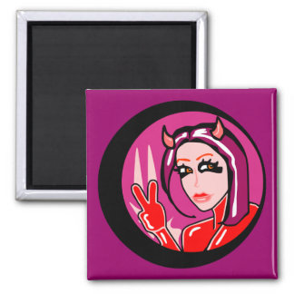 Cute Devil Girl Square Magnet